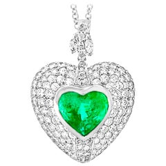 6 Carat Heart Shape Colombian Emerald and Diamond Pendant Necklace Enhancer