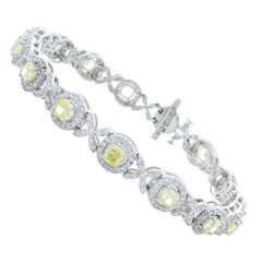 5.18 Carat Total Cushion Cut Fancy Yellow Diamond Bracelet in 18 Karat Gold