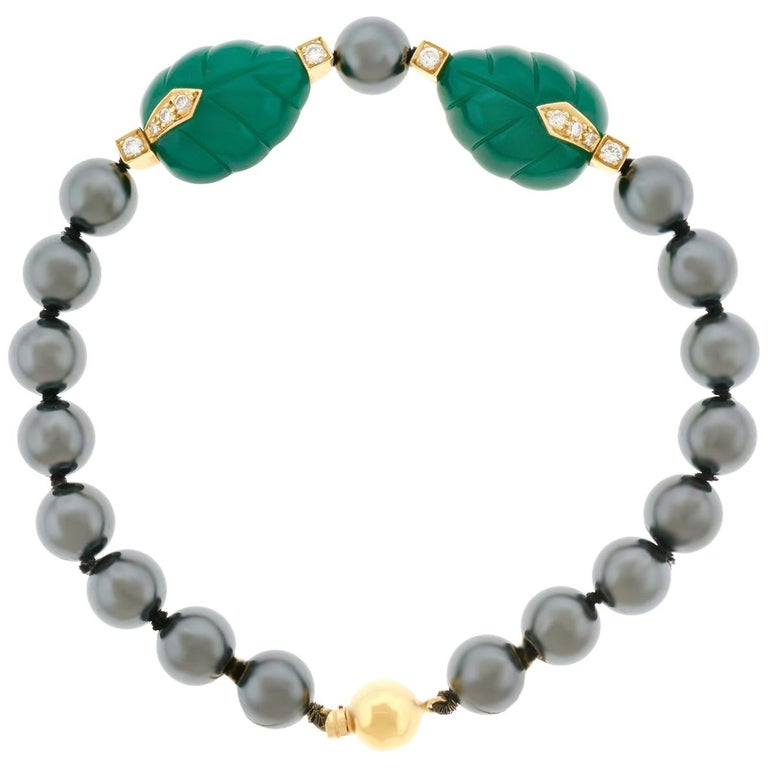 3aa9347102e65 Cartier Hematite Chrysoprase and Diamond Set Gold Bracelet