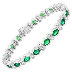 Natural Colombian Emerald & Diamond Tennis Bracelet 18 Karat White Gold, Estate