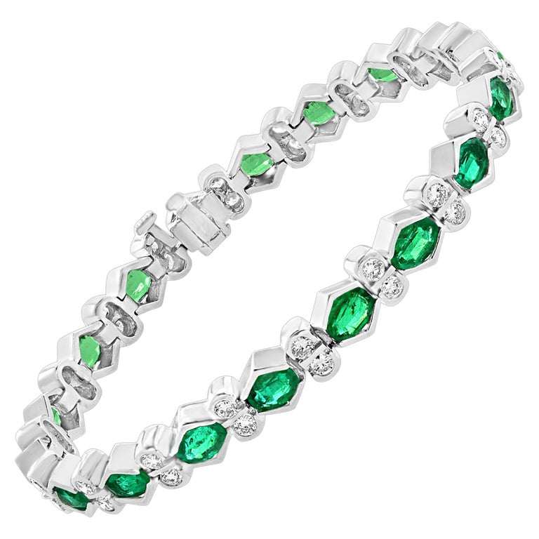 Colombian Emerald and Diamond Tennis Bracelet 18 Karat White Gold, Estate For Sale