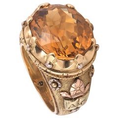 Antique French Topaz Gold Bishop's Ring