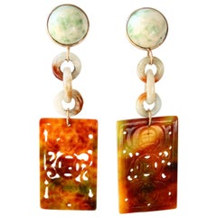 Antiques Chinese Jade 18 Karat Gold Earrings