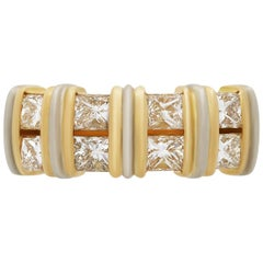 Cartier 18 Karat Yellow and White Gold Princess Cut Diamond Ring