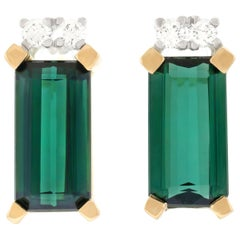 Tourmaline and Diamond Set Gold Earrings