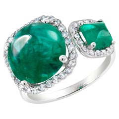 Cabochon Emerald and Sugar Loaf Emerald Gold Double Cocktail Ring