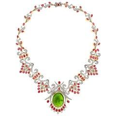 Spectacular Peridot Garnet and Diamond Set Gold Necklace