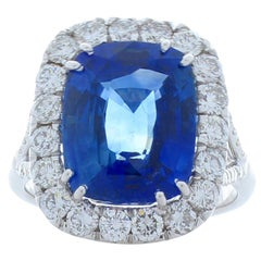 7.16 Carat Cushion Cut Blue Sapphire & Diamond Cocktail Ring in 18 Karat Gold