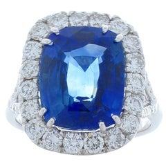 AGL Certified 7.16 Carat Cushion Cut Blue Sapphire & Diamond 18K Ring