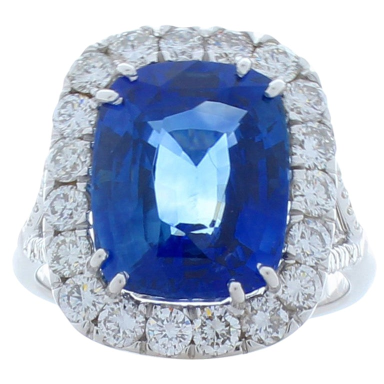 7.16 Carat Cushion Cut Blue Sapphire & Diamond Cocktail Ring in 18 Karat Gold
