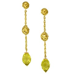 Lemon Citrine Gold Textured Drop Earrings One of a Kind
