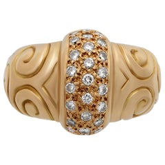 "Estate Zolotas ""Greek"" 18 Karat Yellow Gold Diamond Swirls Ring"
