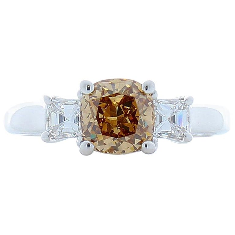 1.31 Carat Cushion Cut Fancy Orangy Brown Diamond Cocktail Ring in 18 Karat Gold For Sale
