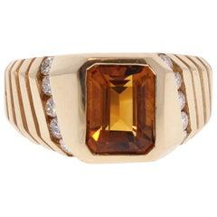 3.50 Carat Emerald Cut Citrine and Diamond Cocktail Ring in 14 Karat Yellow Gold
