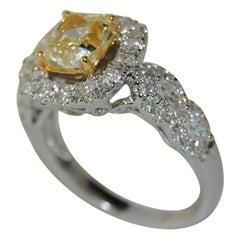 2.74 Carat Fancy Yellow and White Diamond Ring in 18 Karat White Gold