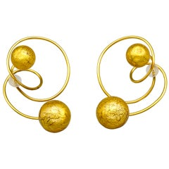 Venetian Glass and Gold Leaf Titanium Earrings by JAR Paris