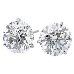 GIA Certified Diamond Stud Earrings 3.08 Carat I-J SI2-I1