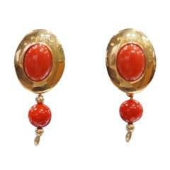 1960s Vintage 18 Karat Coral Earrings