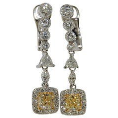2.13 Carat Diamond Earrings, 18 Karat White Gold