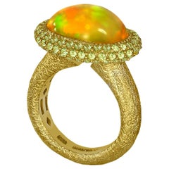 Alex Soldier Opal Peridot Yellow Gold Textured Cocktail Ring One of a Kind