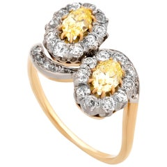 Estate 14 karat Yellow Gold GIA Certified Fancy Intense Yellow Vintage Ring