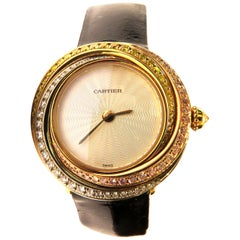 Cartier Pink White Yellow Diamonds and Gold Trinity Collection Quartz Watch