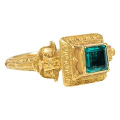 Mid-18th Century Renaissance Style Gold and Emerald Ring