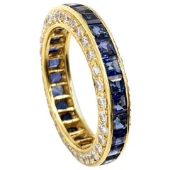18 Karat Gumuchian Captiva Blue Sapphire and Diamond Eternity Band