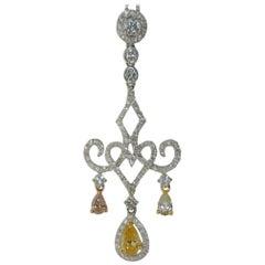 Fancy Yellow Pear Shape Diamond Pendant in 18 Karat White Gold