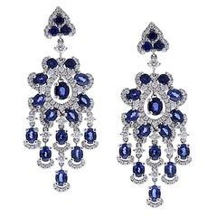 6.71 Carat Oval Blue Sapphire and Diamond Earrings in 18 Karat White Gold