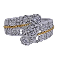 Mario Buccellati Diamond White Yellow Gold Ring