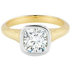 1.71 Carat Cushion Cut Diamond Gold and Platinum Engagement Ring