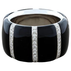 Black Onyx Diamond Gold Band Ring