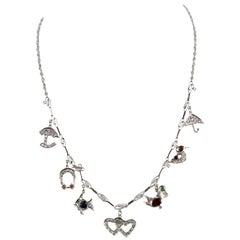 Platinum Deco Diamond Sapphire Garnet Ruby Emerald Topaz Charm Necklace