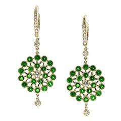 4.76 Carat Total Green Tsavorite and Diamond Earrings in 18 Karat Yellow Gold