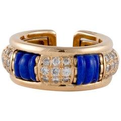 Boucheron Lapis Cuff Ring in 18K Gold