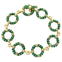 Hidalgo 18 Karat Green Enamel Circle Linked Bracelet