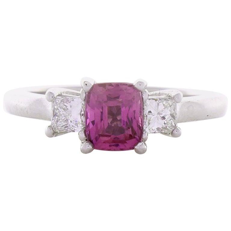 1 09 Carat Cushion Cut Pink Sapphire Diamond Cocktail Ring In 18k White Gold