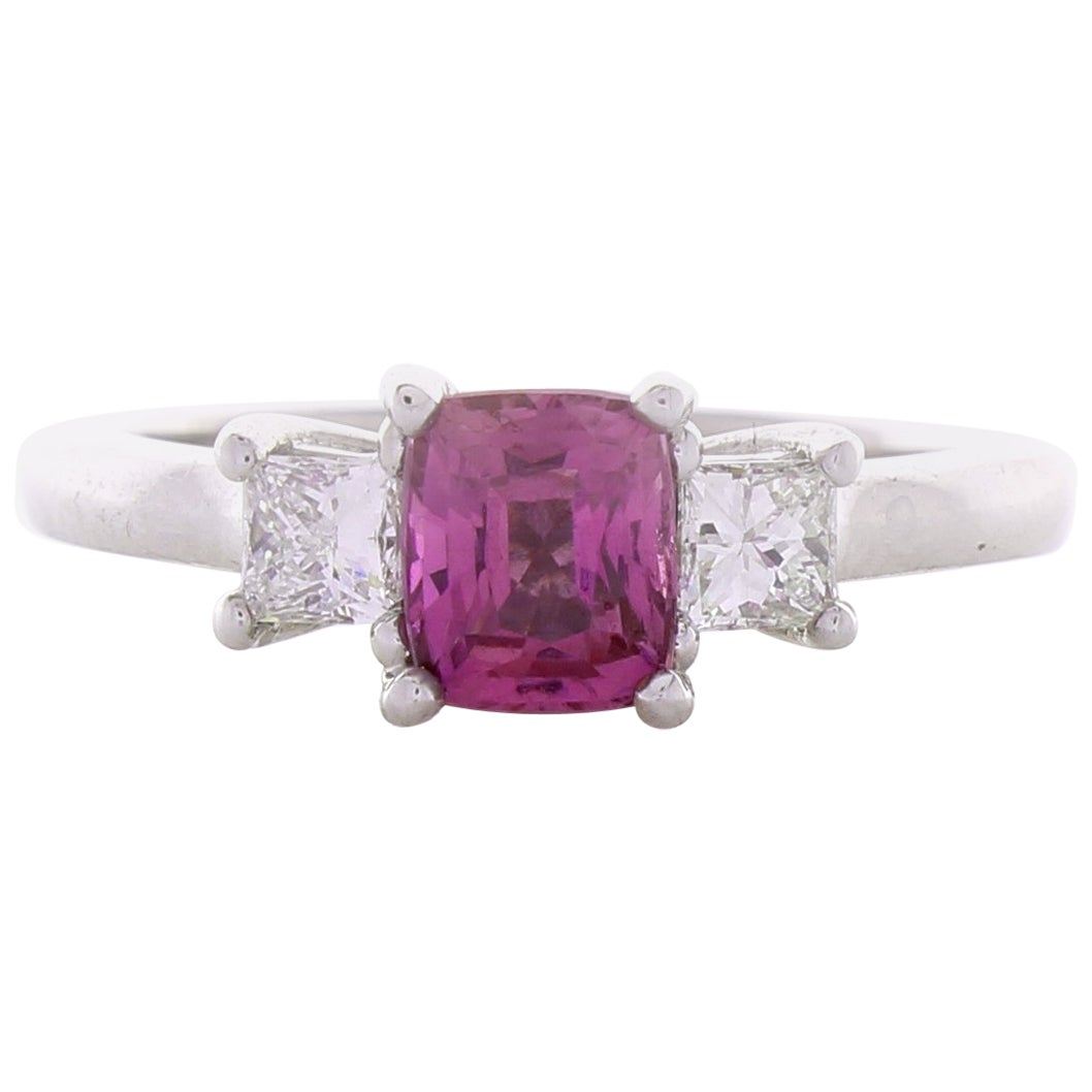 1.09 Carat Cushion Cut PInk Sapphire & Diamond Cocktail Ring In 18K White Gold