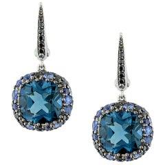 London Blue Topaz Sapphire Black Diamond Gold Cluster Drop Earrings