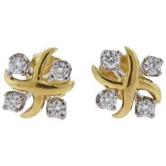 Tiffany & Co. Schlumberger Lynn Diamond Platinum Gold Earrings