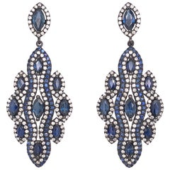 Ruchi New York Blue Sapphire Black Rhodium Drop Earrings