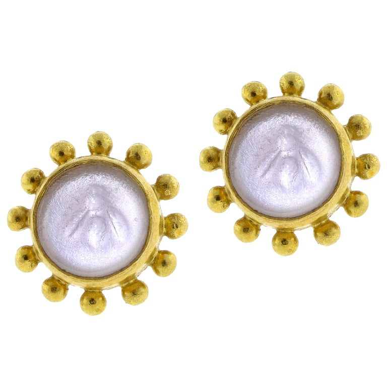 Elizabeth Locke Bumble Bee Earrings For Sale