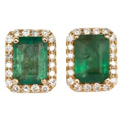 2.00 Carat Total Weight Emerald Yellow Gold Earring