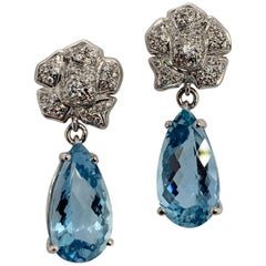 Gold Earrings 7 Carat Natural Round Diamond and Pear Shape Aquamarine