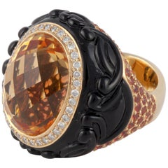 Carved Onyx, Citrine and Orange Sapphire Ring in 18 Karat Yellow Gold