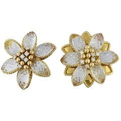 Sabbadini Diamond Crystal Gold Flower Earrings