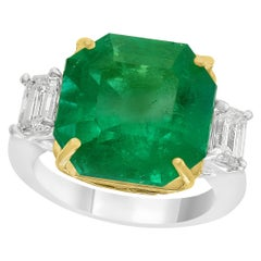 AGL Certified  10.25 Ct  Colombian Emerald &  Diamond 18 Kt  Gold Two-Tone Ring