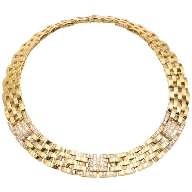 Cartier Diamond Panthere Maillon Necklace For Sale