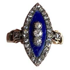 Late Georgian Blue Enamel and Diamond 18 Karat Gold Ring